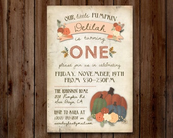 Little Pumpkin- Autumn, Fall, Harvest Birthday Party Invitation // Digital or Printed (FREE SHIPPING!)