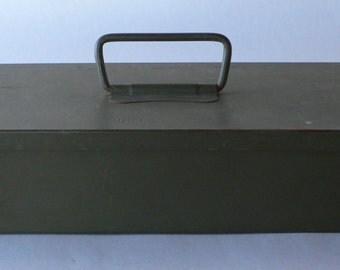 Vintage metal tool box army green from Diz Has Neat Stuff
