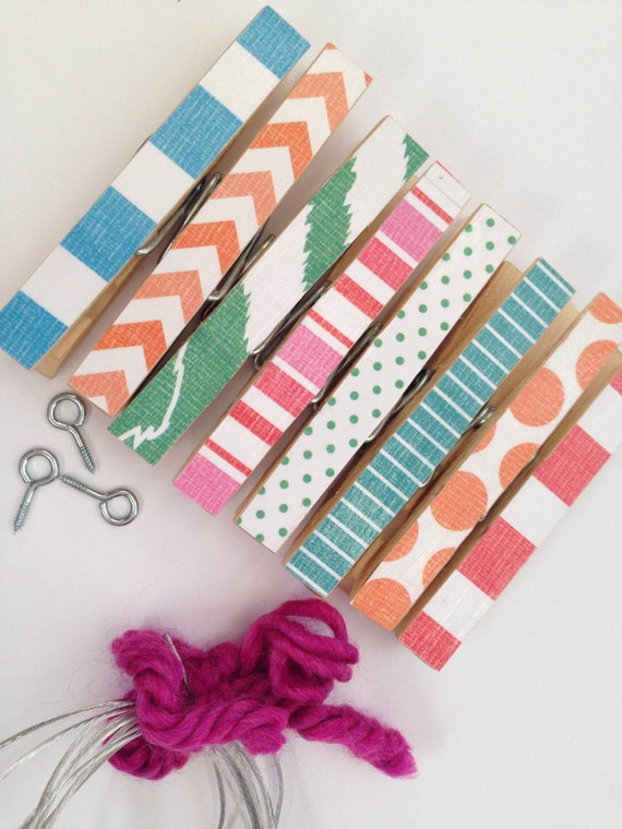 Kids Art Display. Clothesline Kit. Clothespins. Chevron. Photo Picture Frame. Banner. Hanging. Home Office. Clips. Mixed2