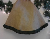 Burlap Christmas Tree Skirt-Lined with Green Fringe 48 inches