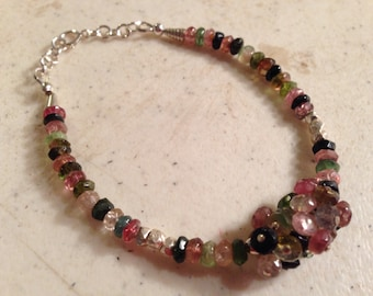 Watermelon Tourmaline Bracelet - Sterling Silver Jewelry - Gemstone Jewellery - Beaded - Fashion - Luxe