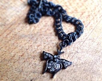 Diamond Charm Bracelet - Bee Charm Jewelry - Oxidized Sterling Silver Jewellery - Pave Diamond