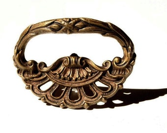 Brass drawer pulls, Five, vintage brass ornate drawer pulls, set of five
