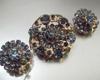 Vintage 1950s Glittering Blue Brooch and earring Demi Parure
