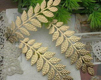 6pcs  Large  Gold Plated  Leaves  Filigree Charms31x 90mm (LV-10)