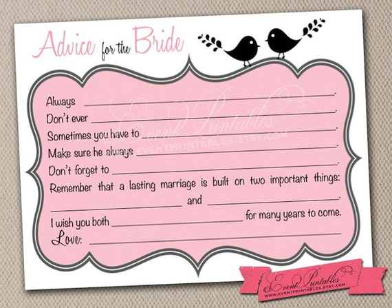 This is an image of Astounding Free Printable Bridal Shower Advice Cards