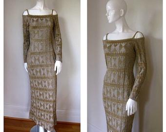 SALE SALE Spectacular Vintage 1970s Rudi Gernreich Metallic Knit Deco Rare Gown