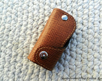 100% hand stitched handmade brown cowhide leather key purse / fob / holder/ case