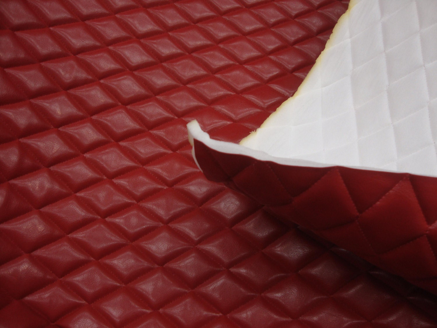 Foam Red Faux Leather Quilted Vinyl Fabric With 3 8 Foam