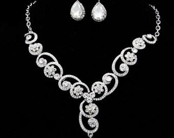 Sale 15% off Swarovski bridal crystal necklace earring set