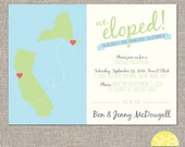 2 states/provinces/countries elope announcement - hearts and map - diy printable file by YellowBrickStudio