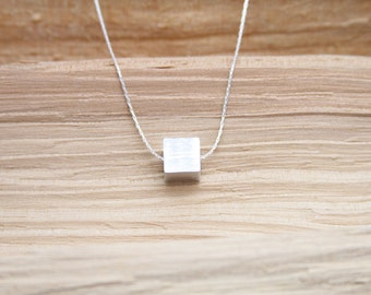 Minimalist Necklace Contemporary Aluminum Jewelry Cube Pendant Necklace