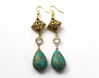 Tear Drop Turquoise and Crystal Stone Earrings