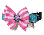 Blue Polka Dot and Pink Rose Dog Collar size Large