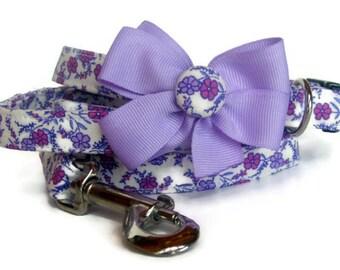 Purple Prim Dog Leash Set size Small
