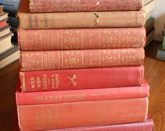Antique Victorian Book Lot Old Red and Gold Books Fine Binding