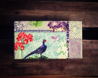 Jewelry Box, Pheasant and Flower Box, Purple Keepsake Box , Turquoise