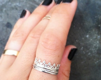 Crown Ring, Sterling Silver, Stacking ring
