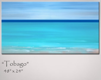 Painting Abstract Beach, Large 48x24, Abstract Ocean Seascape Turquoise Minimalist