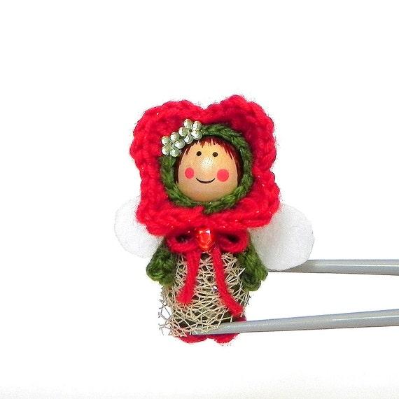 Amigurumi Flower Doll : Red Flower Fairy MochiQtie Amigurumi Mochi size crochet mini