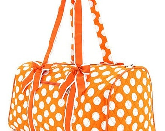 Personalized Quilted Orange Polka Dot Duffle Bag, Monogrammed Orange Polka Duffle Bag, Duffel Bag~Embroidery Included