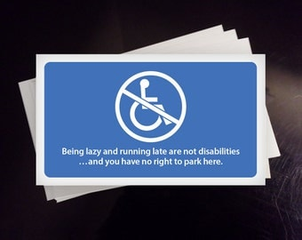 SET of 12 - Handicap Parking Cards - 1 dollar per order goes to Paralyzed Veterans of America