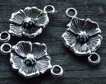 12 Silver Flower Connector Charms  25mm