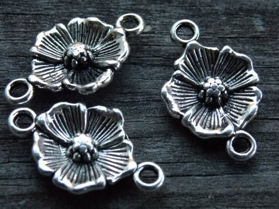 6 Silver Flower Connector Charms 25mm
