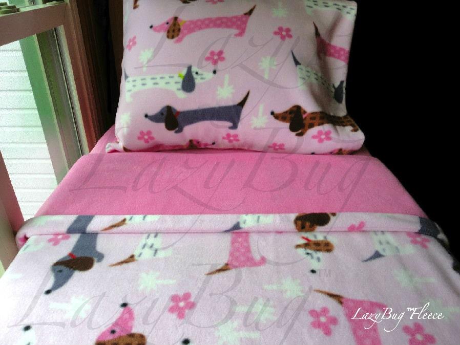 Puppy Bedding Girls Toddler Fleece Bedding Set 'Pink