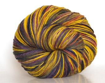 Fingering weight, sock yarn, merino wool, goldenrod, plum, tweed
