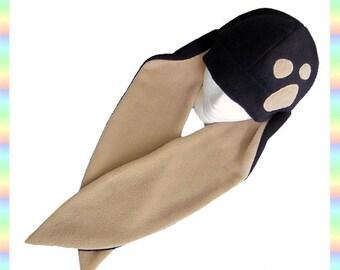 Black and Tan Speckled Long Ear Bunny Hat: Fleece Rabbit Usagi Kawaii Costume Clothing Adult Teen Child