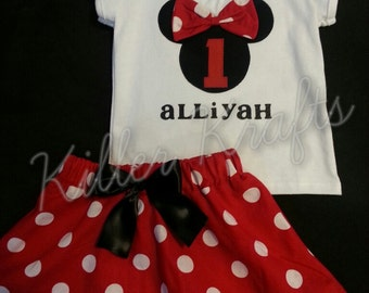 Minnie Mouse inspired 2 piece outfit pink or red