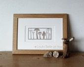 Mushroom Medley, a signed print of an original paper cut by Loula Belle At Home