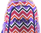 Personalized Multi Color Chevron Backpack Girls Booksack Purple Trim Zig Zag Full Size School Backpack Monogrammed Free