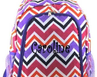 SALE Personalized Multi Color Chevron Backpack Girls Booksack Purple Trim Zig Zag Full Size School Backpack Monogrammed Free