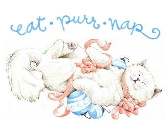 Cute Cat Christmas Cards - Eat Purr Nap - Kitty Cat Illustration - Boxed Set of 10 Cards