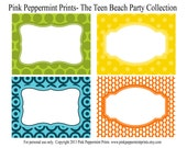 NEW INSTANT DOWNLOAD The Teen Beach Movie Party Printable Party Collection- Printable Party Labels