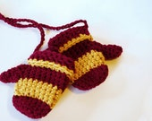 COTTON And Acrylic Crochet Baby Mittens  - Harry Potter Colors - Maroon And Gold Stripes -  Mittens With String
