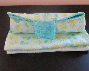 Portable Changing Pad and Burp Cloth Set - Teal
