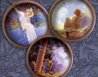 Maxfield Parrish - 1 Inch Circles - Art Nouveau Revival - Digital Collage Sheet - Instant Download and Print