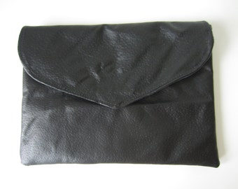 one of a kind genuine leather clutch with blue suede under slap