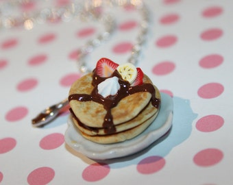 Pancake Necklace - Breakfast Necklace - Food Jewelry - Kawaii Necklace - Pastry necklace