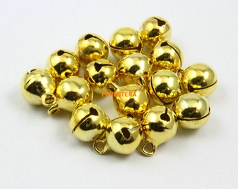 50Pcs 10mm Gold Bell Jingle Bell Charm Bead (JSLD10)