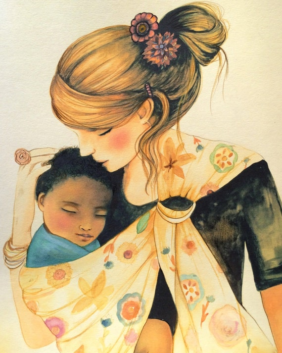 mother and child with beige baby sling