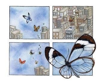 Butterflies in the City giclée print