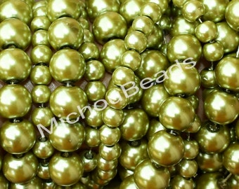 """BULK DISCOUNT 32"""" Strand - 8mm Light OLIVE Green Round Pearl Glass Beads - Opaque Pearlised Crystal Bead - USa - Instant Ship - 045 / b44"""