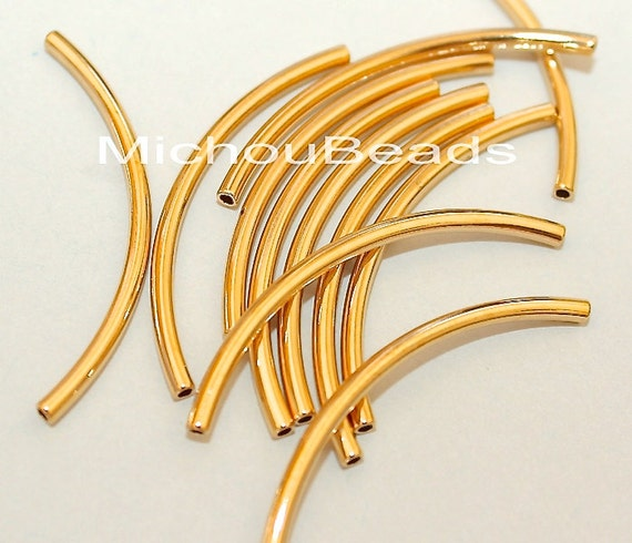 Gold mm curved tube beads plated brass