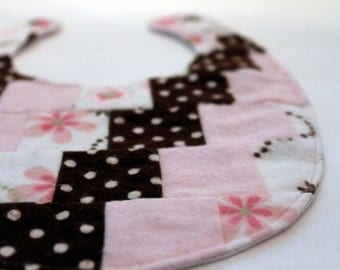 Patchwork Bib and Burp Cloth Set - Pink, Brown, and White Set of 5 - SALE
