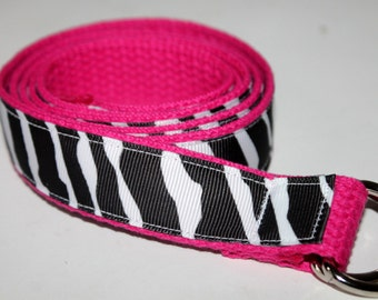 Child's Zebra Belt Reversible Black and White and Hot Pink