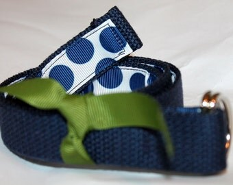 Kids D Ring Belt Navy with Polka Dots on the INSIDE